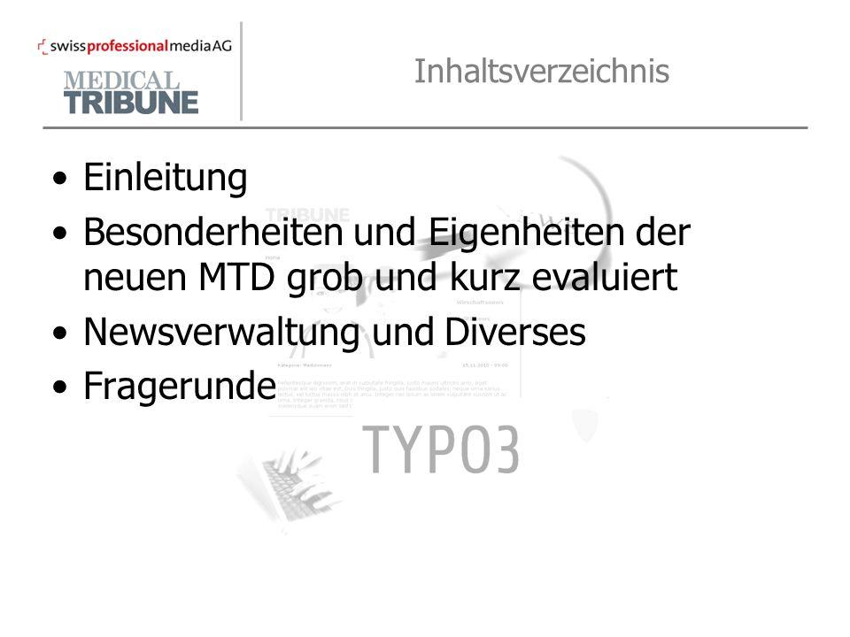Einleitung MTD Webseite auf Typo3-Basis Wieso und was ist Typo3.