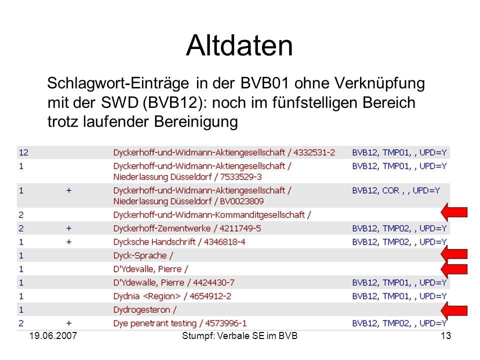19.06.2007Stumpf: Verbale SE im BVB13 Altdaten Schlagwort-Einträge in der BVB01 ohne Verknüpfung mit der SWD (BVB12): noch im fünfstelligen Bereich tr