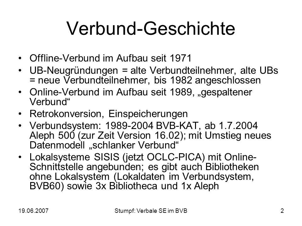 19.06.2007Stumpf: Verbale SE im BVB2 Verbund-Geschichte Offline-Verbund im Aufbau seit 1971 UB-Neugründungen = alte Verbundteilnehmer, alte UBs = neue