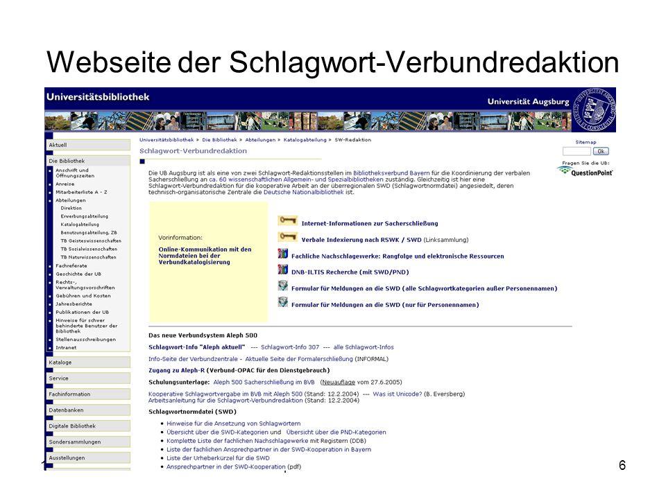 19.06.2007Stumpf: Verbale SE im BVB6 Webseite der Schlagwort-Verbundredaktion