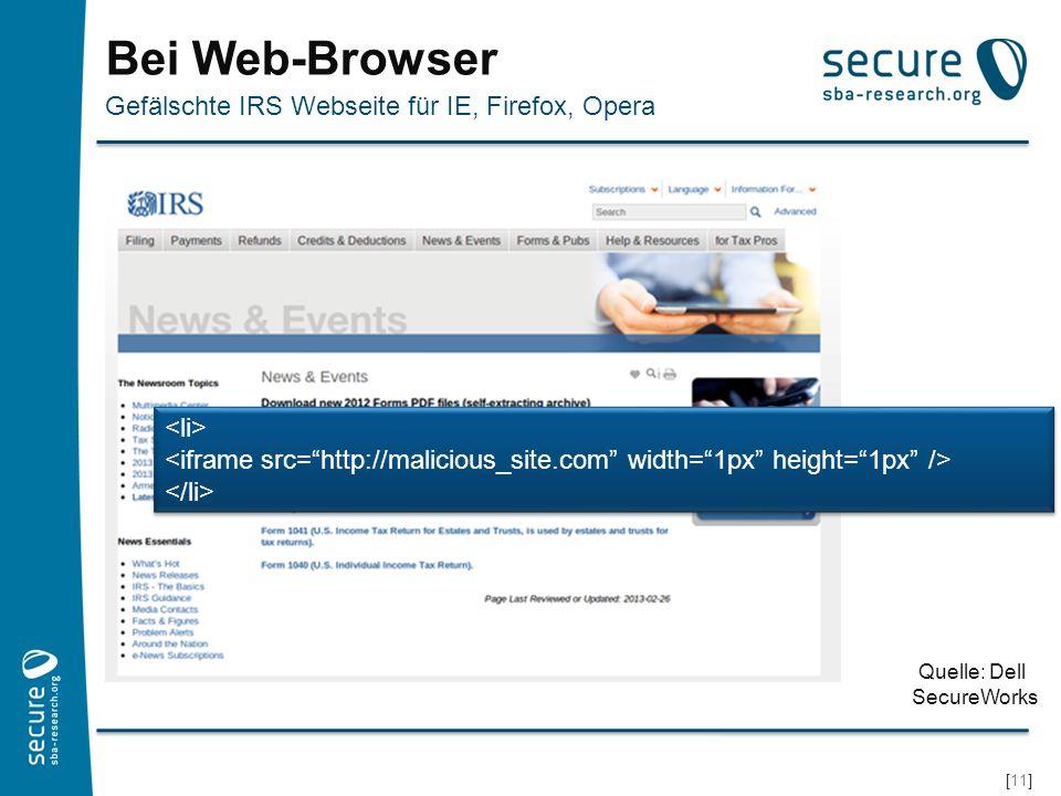 [12] Bösartige Webseite Bösartige Seite prüft nach Sicherheitsschwachstellen Browser und Browserplugins haben Bugs (Abstürze, Anzeigefehler) immer wieder auch Sicherheitsprobleme Sicherheitsschwachstellen ermöglichen Angriffe Drive-by-Download Unwissentlicher Download und Installation eines (Malware-) Programms Möglich aufgrund von einer Sicherheitsschwachstelle im Browser Im Fall von Stels: Redirect auf Webseite mit Blackhole Exploit Kit Was kann beim Ansurfen einer Webseite schon passieren?