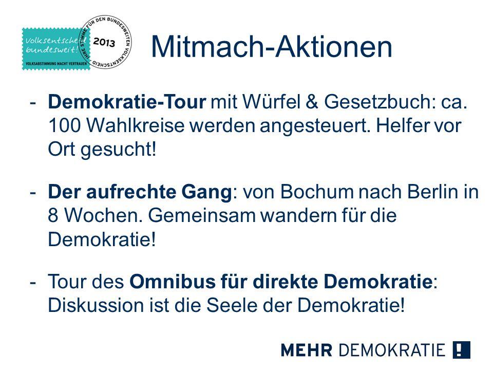 Mitmach-Aktionen -Demokratie-Tour mit Würfel & Gesetzbuch: ca. 100 Wahlkreise werden angesteuert. Helfer vor Ort gesucht! -Der aufrechte Gang: von Boc