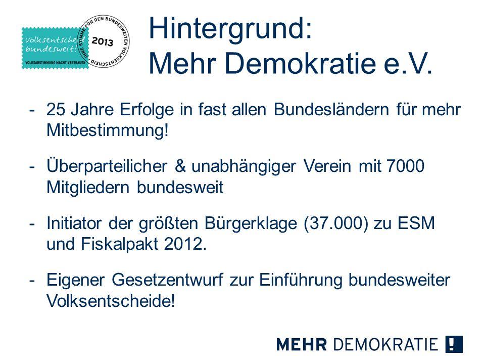 Hintergrund: Mehr Demokratie e.V. -25 Jahre Erfolge in fast allen Bundesländern für mehr Mitbestimmung! -Überparteilicher & unabhängiger Verein mit 70