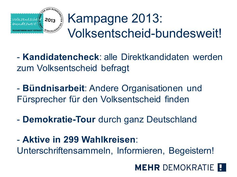 - Kandidatencheck: alle Direktkandidaten werden zum Volksentscheid befragt - Bündnisarbeit: Andere Organisationen und Fürsprecher für den Volksentsche