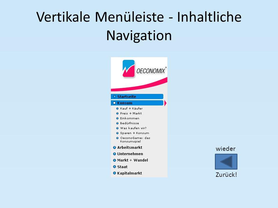 Vertikale Menüleiste - Inhaltliche Navigation wieder Zurück!
