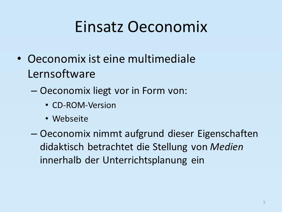 Einsatz Oeconomix Oeconomix ist eine multimediale Lernsoftware – Oeconomix liegt vor in Form von: CD-ROM-Version Webseite – Oeconomix nimmt aufgrund dieser Eigenschaften didaktisch betrachtet die Stellung von Medien innerhalb der Unterrichtsplanung ein 3