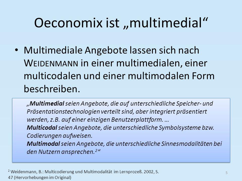 Oeconomix ist multimedial Multimediale Angebote lassen sich nach W EIDENMANN in einer multimedialen, einer multicodalen und einer multimodalen Form beschreiben.