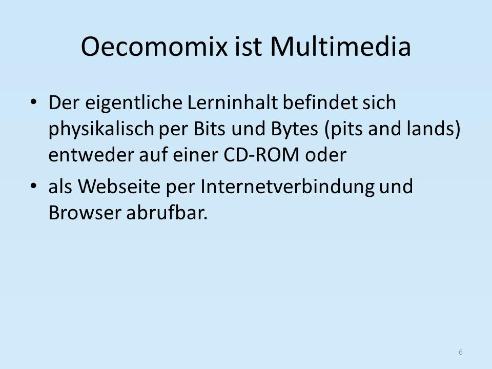 Oecomomix ist Multimedia Der eigentliche Lerninhalt befindet sich physikalisch per Bits und Bytes (pits and lands) entweder auf einer CD-ROM oder als Webseite per Internetverbindung und Browser abrufbar.