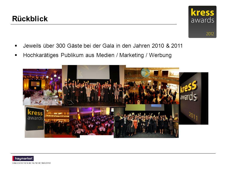 kress ist eine Marke der Haymarket Media GmbH Rückblick Jeweils über 300 Gäste bei der Gala in den Jahren 2010 & 2011 Hochkarätiges Publikum aus Medien / Marketing / Werbung
