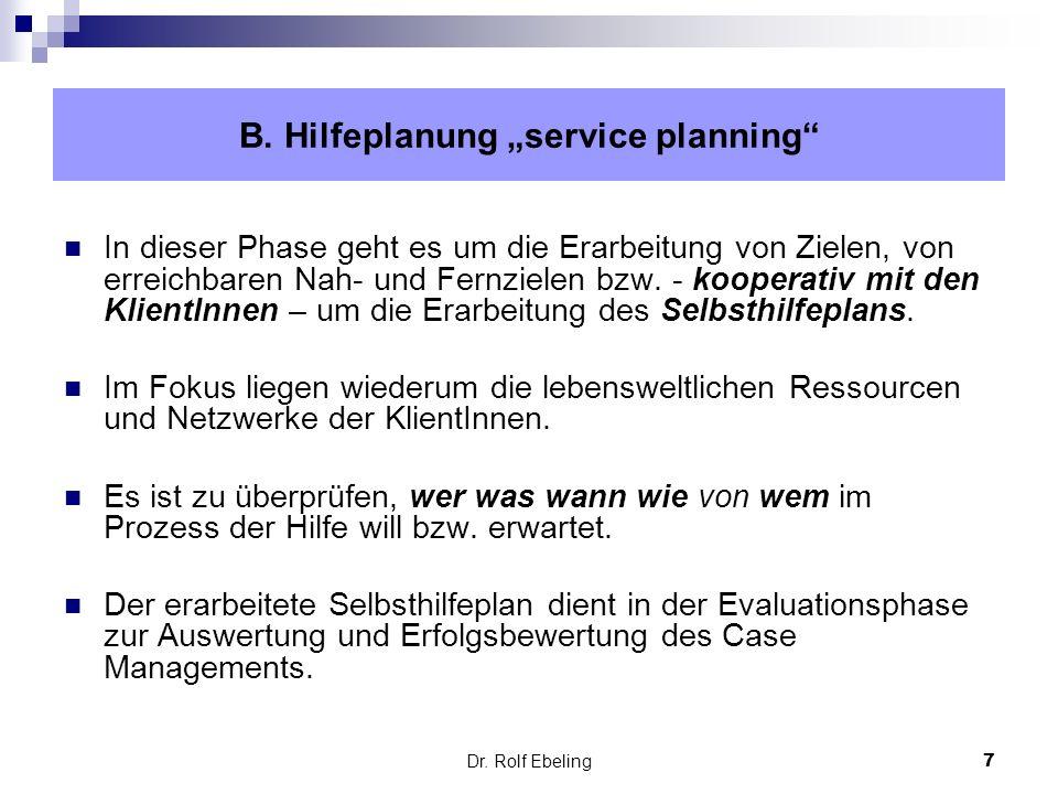 7 Dr. Rolf Ebeling In dieser Phase geht es um die Erarbeitung von Zielen, von erreichbaren Nah- und Fernzielen bzw. - kooperativ mit den KlientInnen –