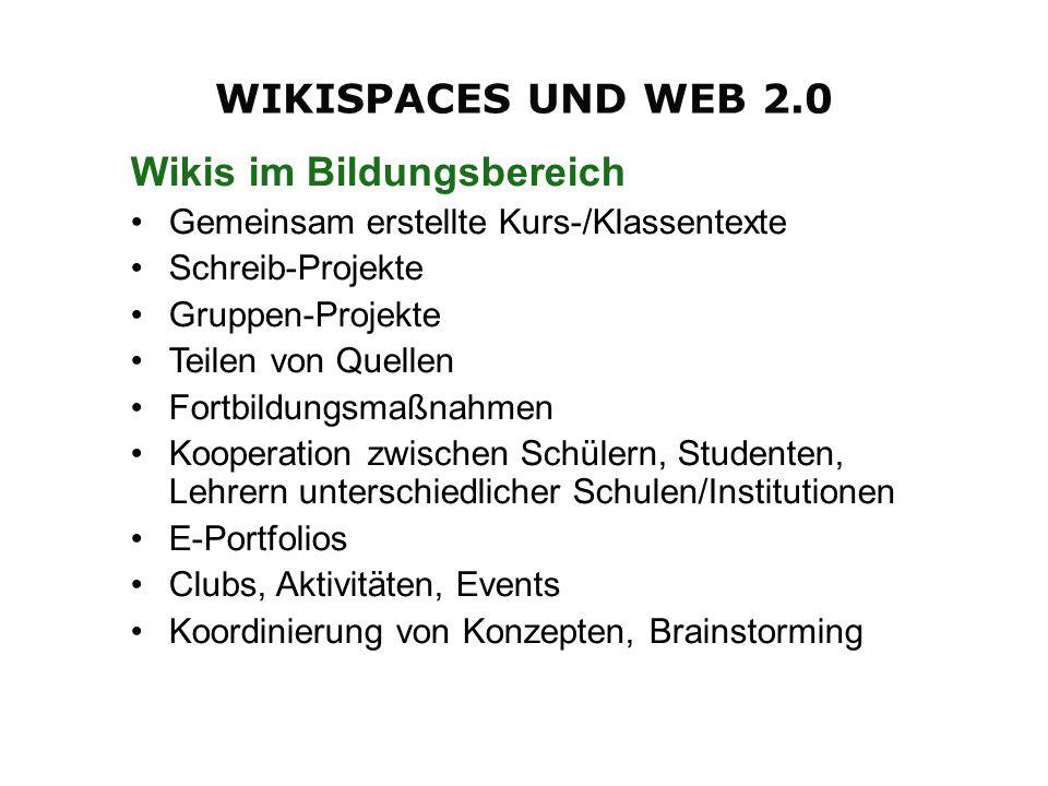 Wikis im Bildungsbereich Gemeinsam erstellte Kurs-/Klassentexte Schreib-Projekte Gruppen-Projekte Teilen von Quellen Fortbildungsmaßnahmen Kooperation