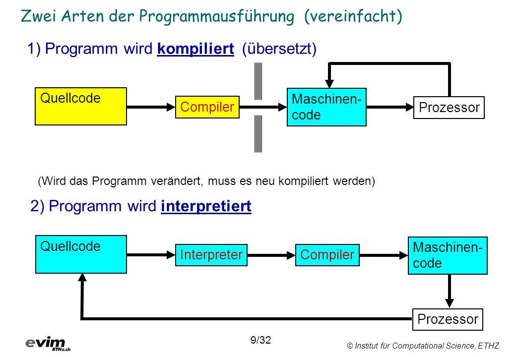 © Institut für Computational Science, ETHZ Zwei Arten der Programmausführung (vereinfacht) 1) Programm wird kompiliert (übersetzt) 2) Programm wird in