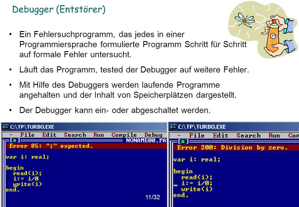 © Institut für Computational Science, ETHZ Debugger (Entstörer) Ein Fehlersuchprogramm, das jedes in einer Programmiersprache formulierte Programm Sch