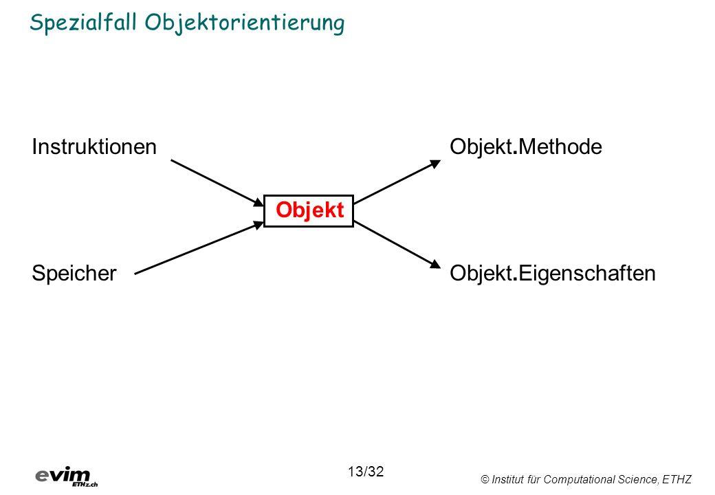 © Institut für Computational Science, ETHZ Spezialfall Objektorientierung InstruktionenObjekt.Methode Objekt SpeicherObjekt.Eigenschaften 13/32