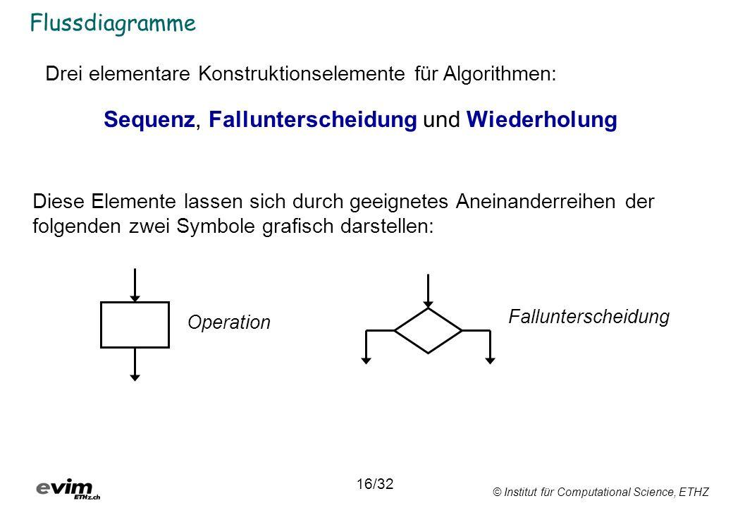 © Institut für Computational Science, ETHZ Flussdiagramme Drei elementare Konstruktionselemente für Algorithmen: Sequenz, Fallunterscheidung und Wiede