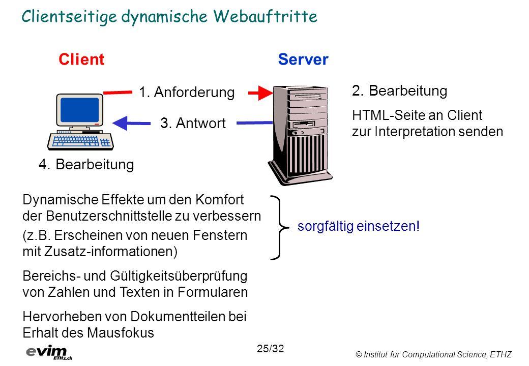 © Institut für Computational Science, ETHZ Clientseitige dynamische Webauftritte ClientServer 1. Anforderung 3. Antwort Dynamische Effekte um den Komf