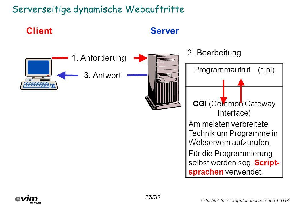 © Institut für Computational Science, ETHZ Serverseitige dynamische Webauftritte ClientServer 1. Anforderung 3. Antwort 2. Bearbeitung Programmaufruf