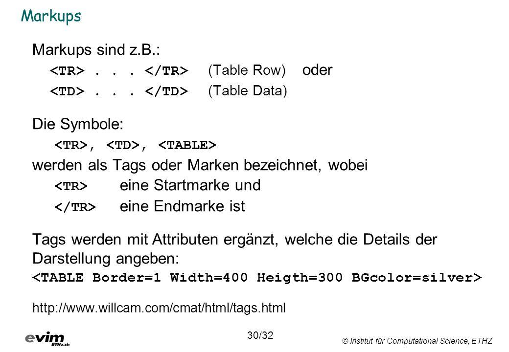 © Institut für Computational Science, ETHZ Markups Markups sind z.B.:... (Table Row) oder... (Table Data) Die Symbole:,, werden als Tags oder Marken b