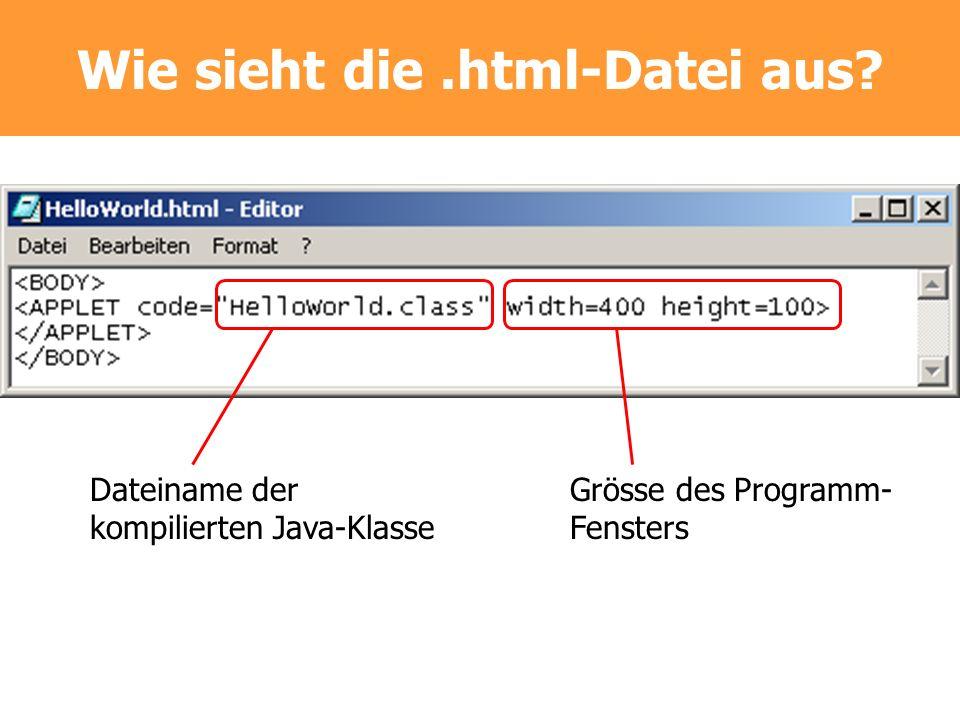 Wie sieht die.html-Datei aus? Dateiname der kompilierten Java-Klasse Grösse des Programm- Fensters