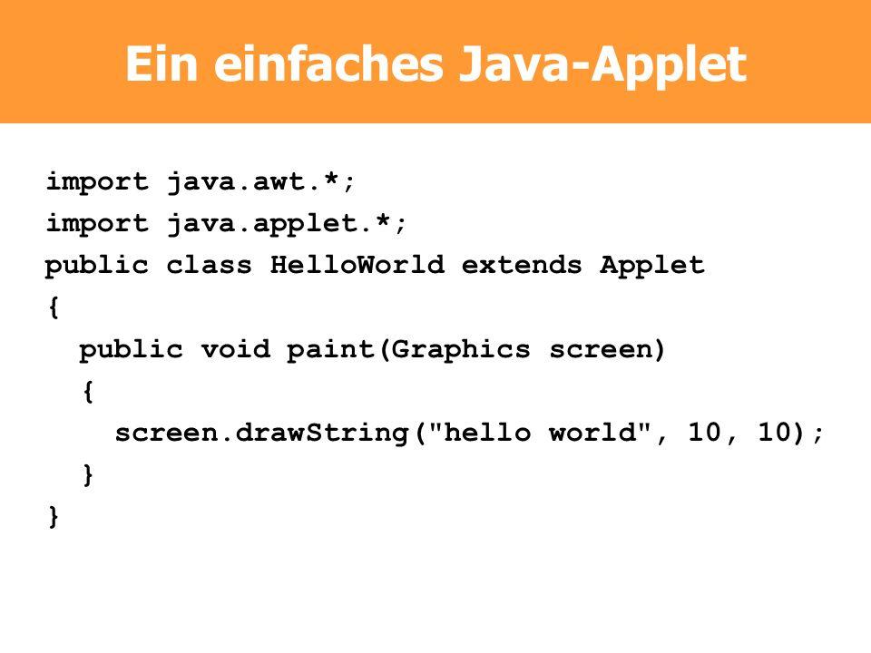 Ein einfaches Java-Applet import java.awt.*; import java.applet.*; public class HelloWorld extends Applet { public void paint(Graphics screen) { scree