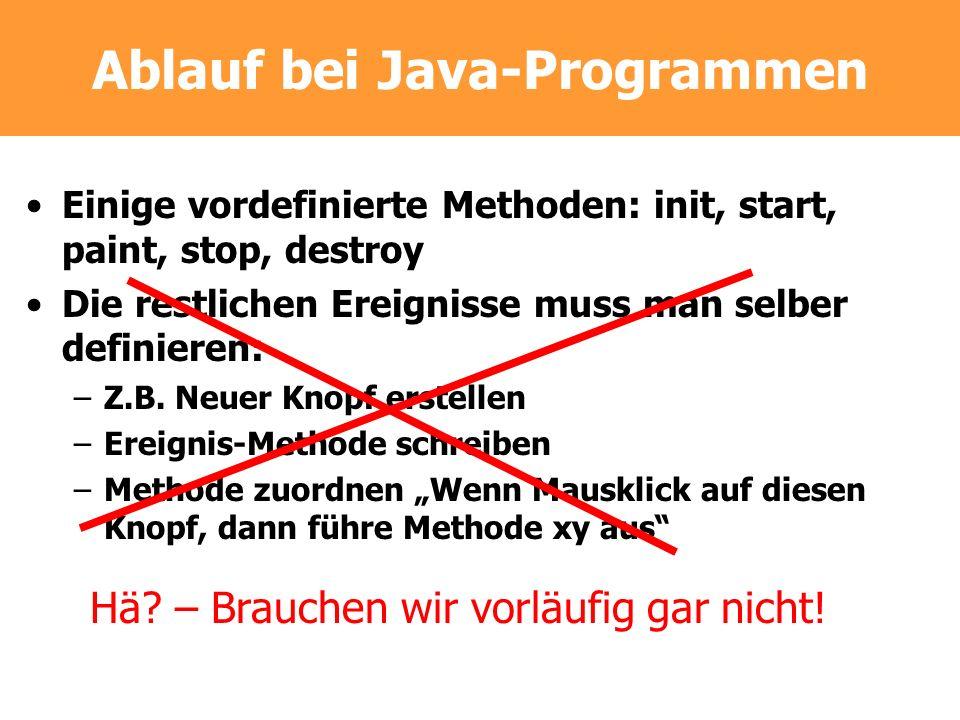 Ablauf bei Java-Programmen Einige vordefinierte Methoden: init, start, paint, stop, destroy Die restlichen Ereignisse muss man selber definieren: –Z.B