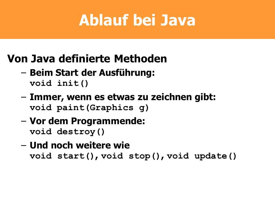 Ablauf bei Java Von Java definierte Methoden –Beim Start der Ausführung: void init() –Immer, wenn es etwas zu zeichnen gibt: void paint(Graphics g) –V