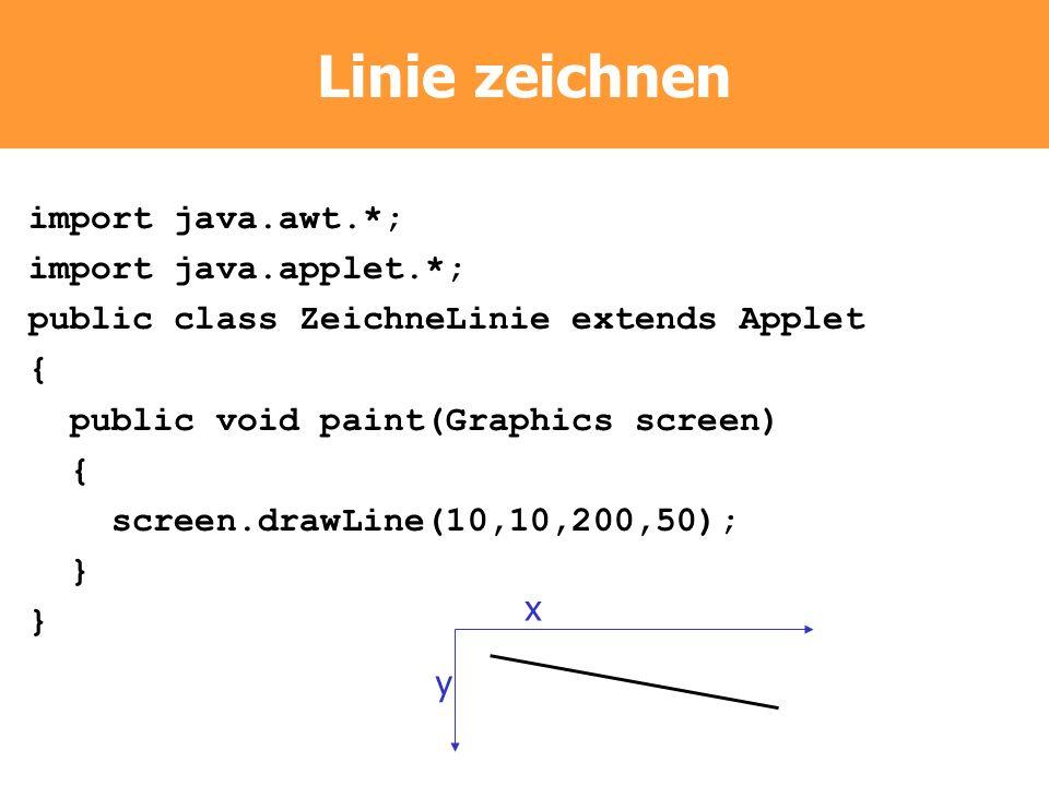 Linie zeichnen import java.awt.*; import java.applet.*; public class ZeichneLinie extends Applet { public void paint(Graphics screen) { screen.drawLin