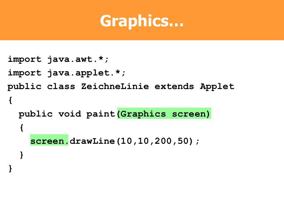import java.awt.*; import java.applet.*; public class ZeichneLinie extends Applet { public void paint(Graphics screen) { screen.drawLine(10,10,200,50)