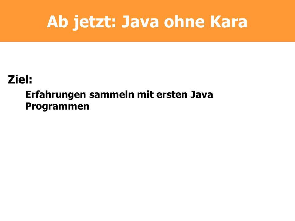 Ab jetzt: Java ohne Kara Ziel: Erfahrungen sammeln mit ersten Java Programmen