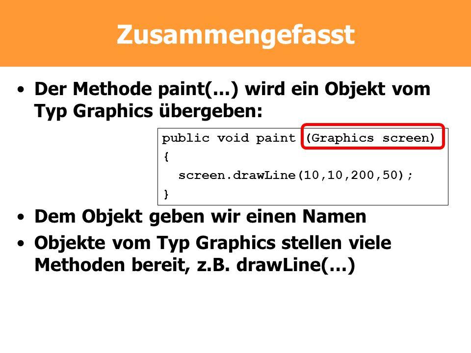 Zusammengefasst Der Methode paint(...) wird ein Objekt vom Typ Graphics übergeben: Dem Objekt geben wir einen Namen Objekte vom Typ Graphics stellen v