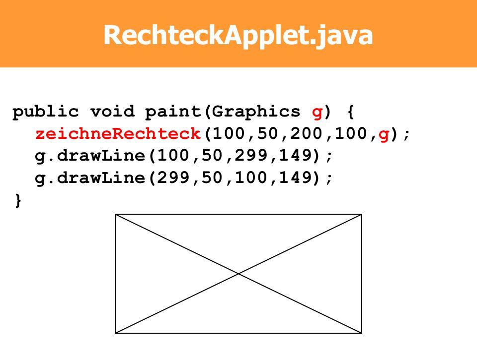 RechteckApplet.java public void paint(Graphics g) { zeichneRechteck(100,50,200,100,g); g.drawLine(100,50,299,149); g.drawLine(299,50,100,149); }