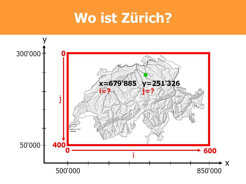 Wo ist Zürich? 300000 50000 500000850000 y x 0 400 0 600 i=?j=? j i x=679'885y=251'326
