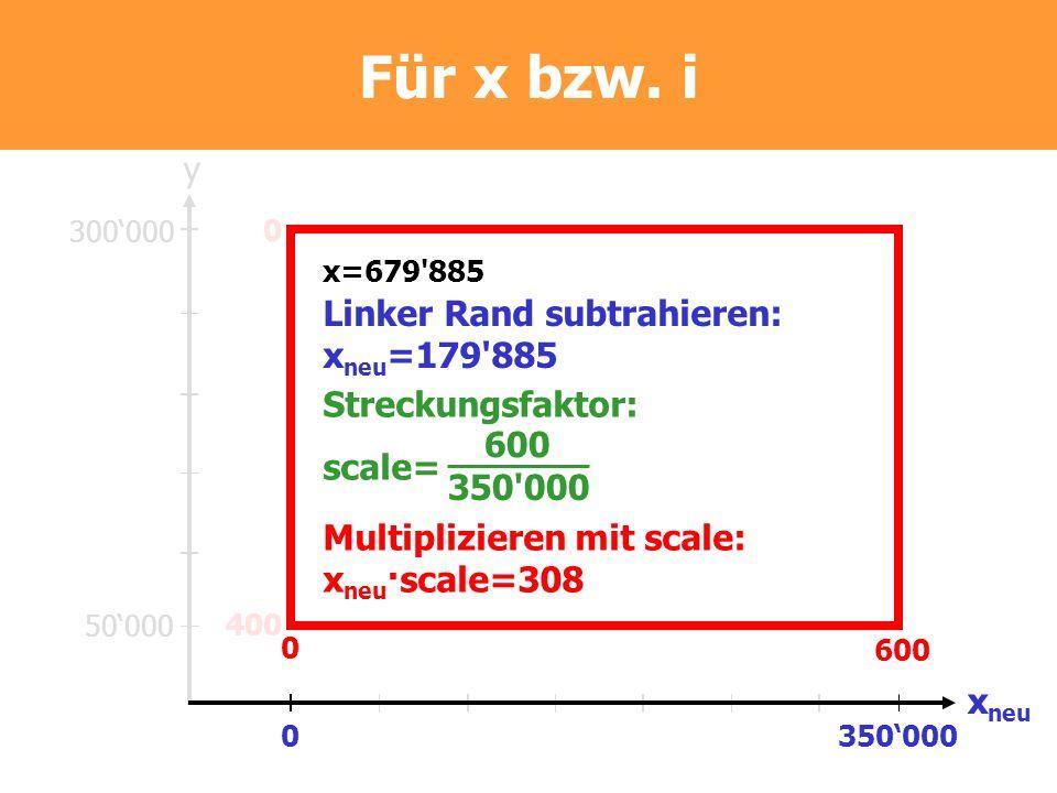 Für x bzw. i 300000 50000 500000850000 y x 0 400 0 600 x=679'885 Linker Rand subtrahieren: x neu =179'885 0350000 x neu Streckungsfaktor: scale= 600 3