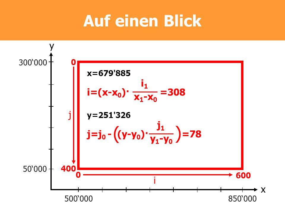 Auf einen Blick 300000 50000 500000850000 y x 0 400 0 600 j i x=679'885 i=(x-x 0 )· =308 i1i1 x 1 -x 0 y=251'326 j=j 0 - (y-y 0 )· =78 j1j1 y 1 -y 0 (