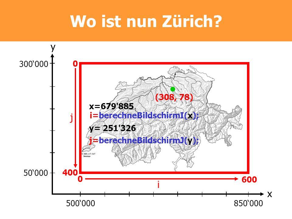 (308, 78) Wo ist nun Zürich? 300000 50000 500000850000 y x 0 400 0 600 i=berechneBildschirmI(x); j=berechneBildschirmJ(y); j i x=679'885 y= 251'326
