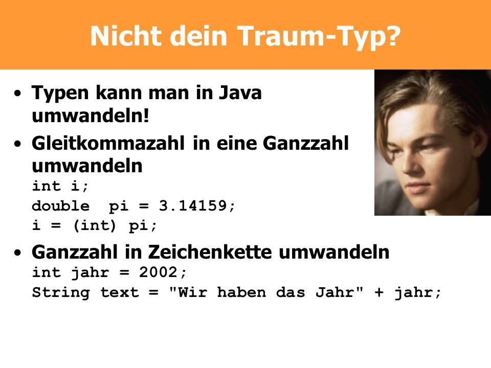 Nicht dein Traum-Typ? Typen kann man in Java umwandeln! Gleitkommazahl in eine Ganzzahl umwandeln int i; double pi = 3.14159; i = (int) pi; Ganzzahl i