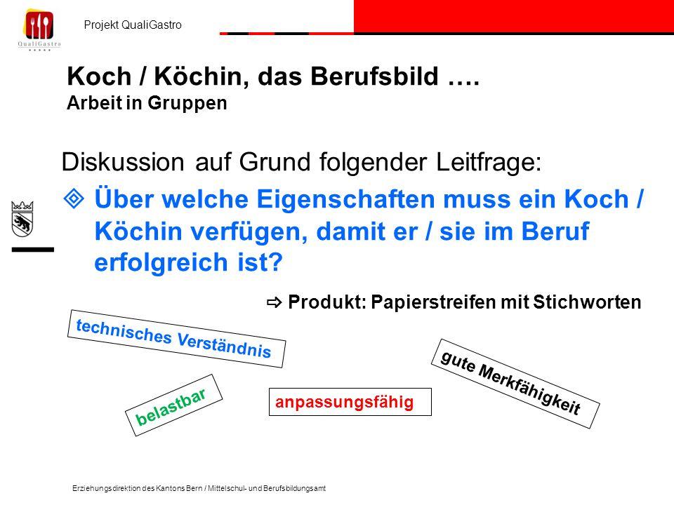 Projekt QualiGastro Erziehungsdirektion des Kantons Bern / Mittelschul- und Berufsbildungsamt Koch / Köchin, das Berufsbild …. Arbeit in Gruppen Disku