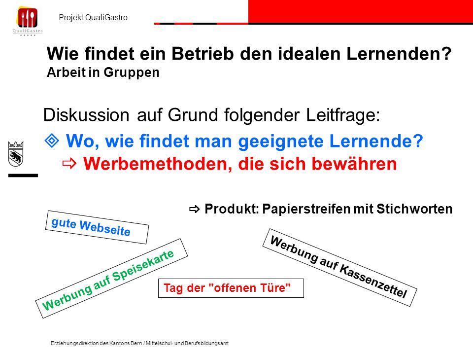Projekt QualiGastro Erziehungsdirektion des Kantons Bern / Mittelschul- und Berufsbildungsamt Wie findet ein Betrieb den idealen Lernenden? Arbeit in