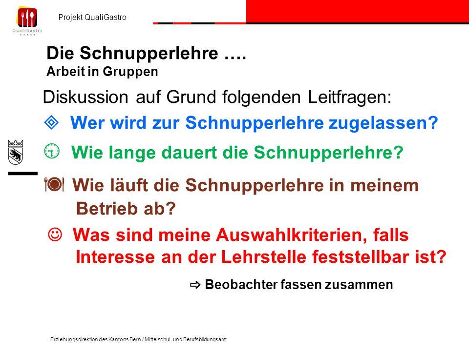 Projekt QualiGastro Erziehungsdirektion des Kantons Bern / Mittelschul- und Berufsbildungsamt Die Schnupperlehre ….
