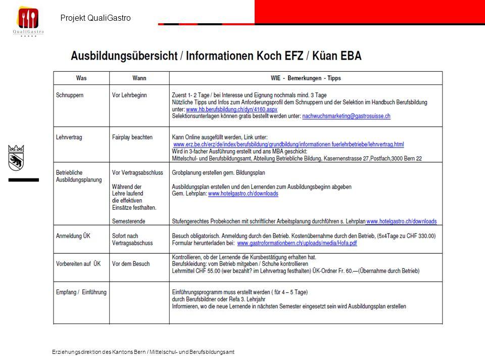 Projekt QualiGastro Erziehungsdirektion des Kantons Bern / Mittelschul- und Berufsbildungsamt