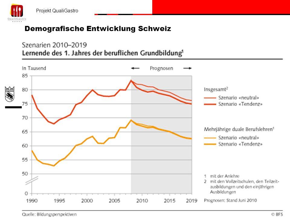 Projekt QualiGastro Erziehungsdirektion des Kantons Bern / Mittelschul- und Berufsbildungsamt Demografische Entwicklung Schweiz