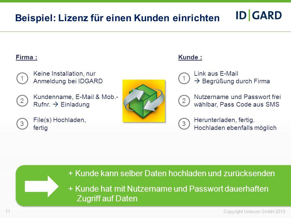 11Copyright Uniscon GmbH 2013 Beispiel: Lizenz für einen Kunden einrichten Firma : Keine Installation, nur Anmeldung bei IDGARD Kundenname, E-Mail & M