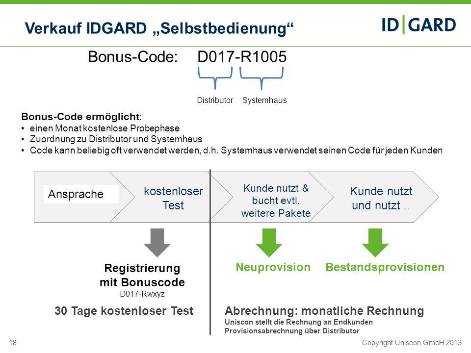 18Copyright Uniscon GmbH 201318 Verkauf IDGARD Selbstbedienung kostenloser Test Bestandsprovisionen Kunde nutzt & bucht evtl. weitere Pakete Kunde nut