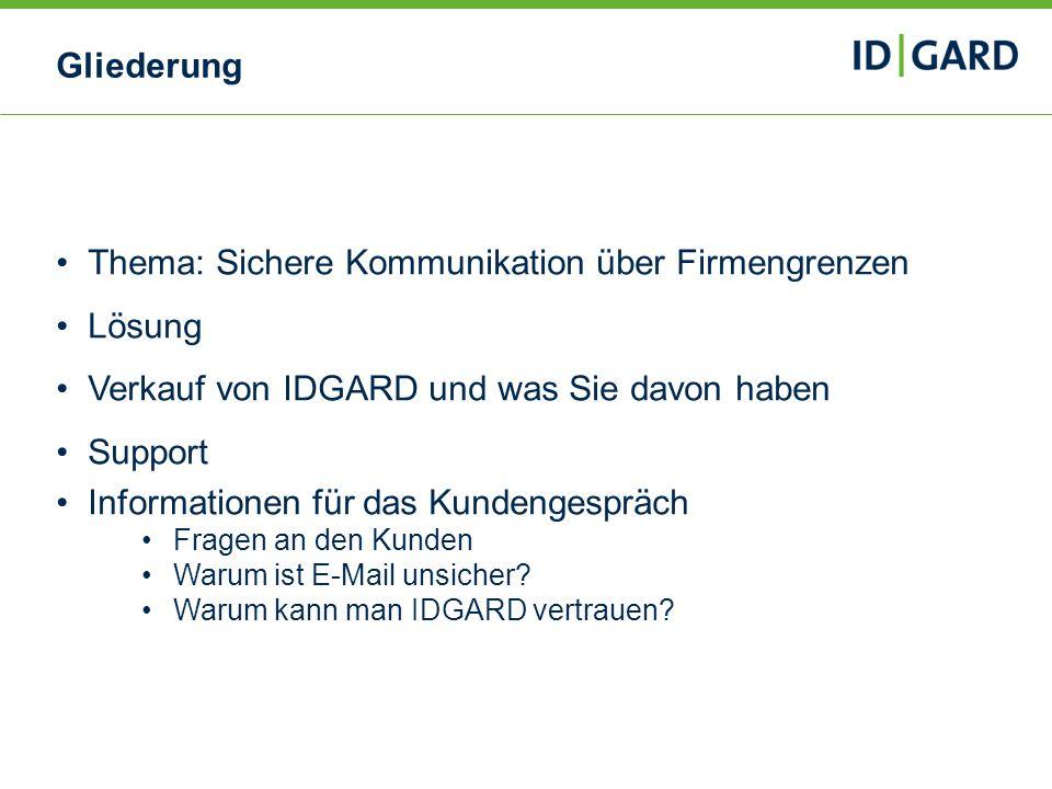2Copyright Uniscon GmbH 20132 Gliederung Thema: Sichere Kommunikation über Firmengrenzen Lösung Verkauf von IDGARD und was Sie davon haben Support Inf
