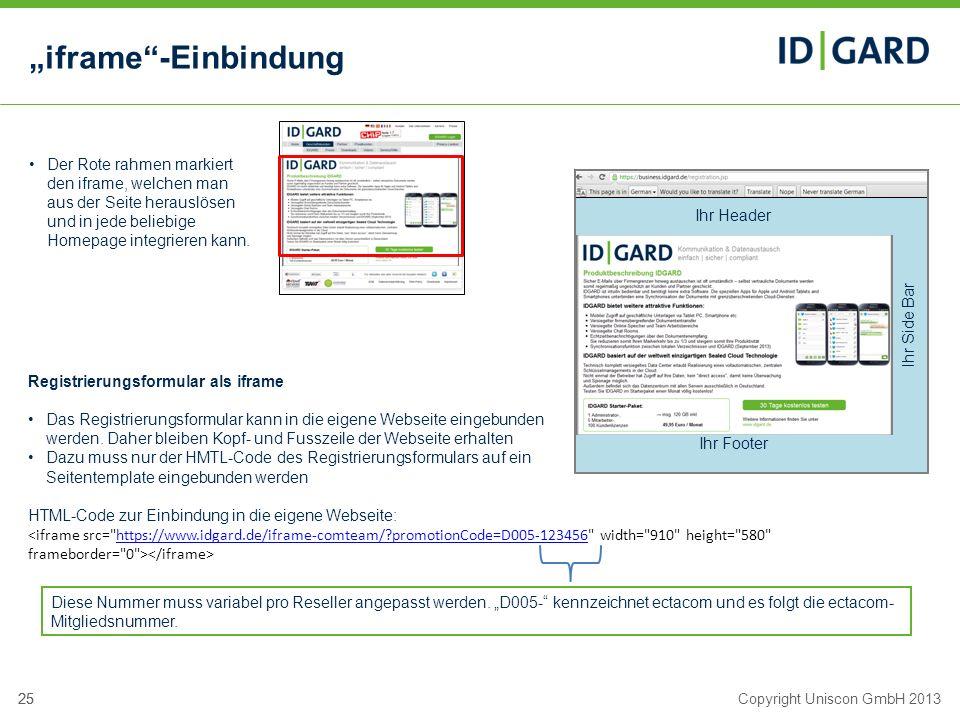 25Copyright Uniscon GmbH 201325 iframe-Einbindung Der Rote rahmen markiert den iframe, welchen man aus der Seite herauslösen und in jede beliebige Hom