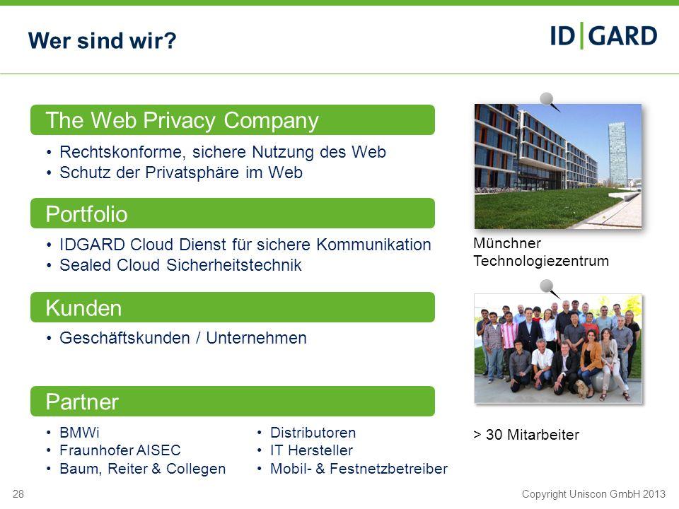 28Copyright Uniscon GmbH 2013 Wer sind wir? The Web Privacy Company Rechtskonforme, sichere Nutzung des Web Schutz der Privatsphäre im Web Portfolio I