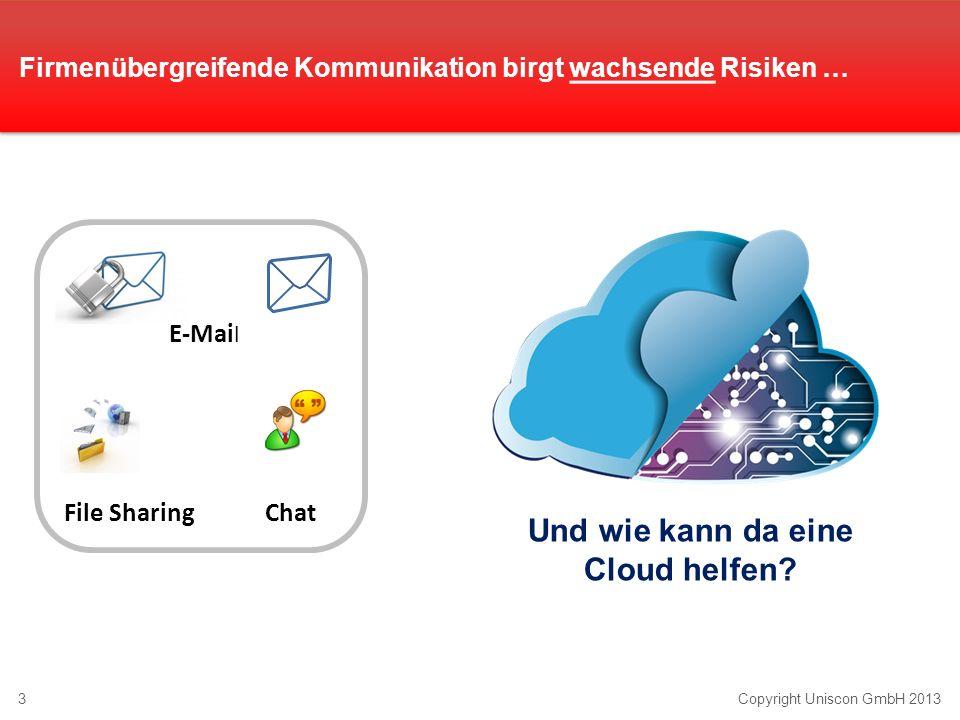 3Copyright Uniscon GmbH 2013 Und wie kann da eine Cloud helfen? Firmenübergreifende Kommunikation birgt wachsende Risiken … E-Mai l File SharingChat
