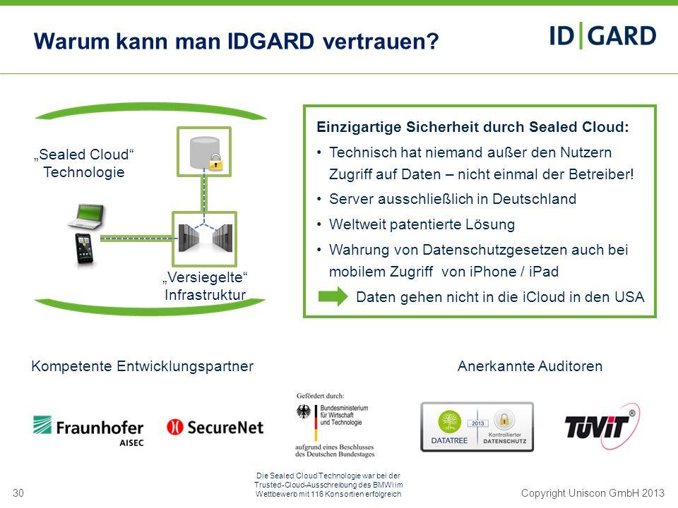30Copyright Uniscon GmbH 2013 Einzigartige Sicherheit durch Sealed Cloud: Technisch hat niemand außer den Nutzern Zugriff auf Daten – nicht einmal der