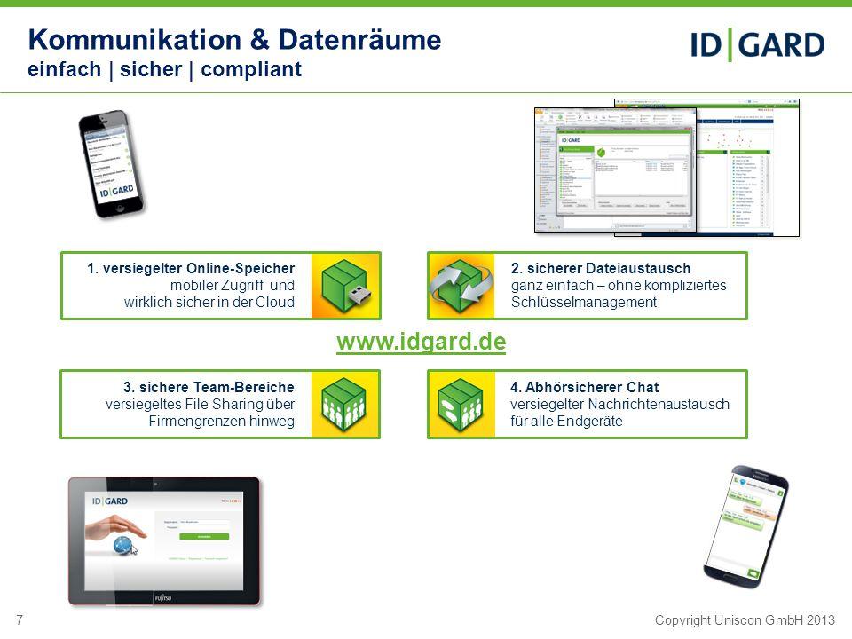 7Copyright Uniscon GmbH 2013 1. versiegelter Online-Speicher mobiler Zugriff und wirklich sicher in der Cloud 2. sicherer Dateiaustausch ganz einfach