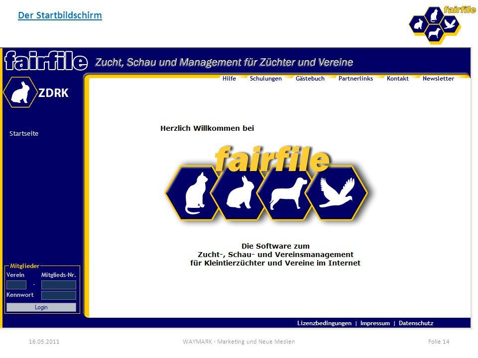 16.05.2011WAYMARK - Marketing und Neue MedienFolie 14 Der Startbildschirm